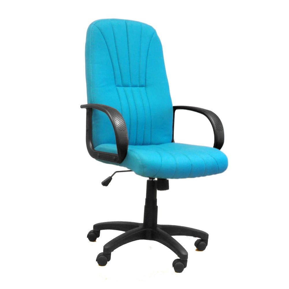 Pluto High Back Office Chair, Fixed Arms. Black, Aqua, Blue and Wine Fabric